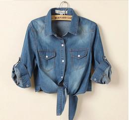 Wholesale Womens Tops Size Xl - Wholesale-S-3XL 2015 new brand sale fashion denim vintage plus size blusas womens tops jeans woman casacos femininos women blouse shirt