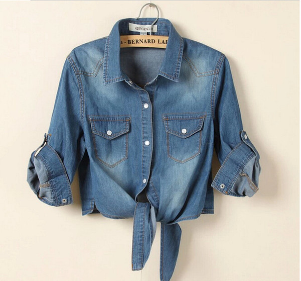 6c25bfefd241 Wholesale-S-3XL 2015 new brand sale fashion denim vintage plus size blusas  womens tops jeans woman casacos femininos women blouse shirt