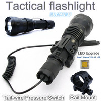 Wholesale Cree Flashlight Pressure Switch - Wholesale-RA-602REF[TTWS] CREE XM L2 U2 COOL WARM WHITE torch Tactical Flashlight power by 18650,with Rail Mount,Tail-wire Pressure Switch