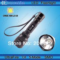 Wholesale Cree Flashlight Reflector - Wholesale-1800lm UltraFire C8 CREE XM-L2 U3 LED Flashlight 5M SMO Reflector L2 U3 LED Torch + Mail Free