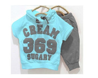 Wholesale Hoodie Promotion - Wholesale-5 pcs In Stock promotion cream color 369 short sleeve hoodies+pants children summer clothing set baby suit