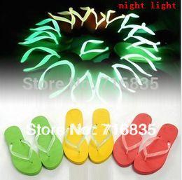 Wholesale Cheap Slipper For Women Wholesale - Wholesale-Wholesale cheap 10 pairs unisex night sandals& flip flops Luminous slippers beach sandals for men and women
