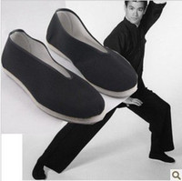 Wholesale Kung Fu Shoes Free Shipping - Wholesale-free shipping bruce lee vintage Chinese Shoes Martial Art Kung Fu Slippers PURE COTTON