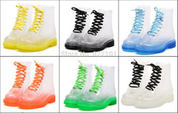 Wholesale Clear Colorful Rain Boots - Wholesale-FREE SHIPPING New Transparent Womens Rain boots Colorful Crystal Clear Low Heels Water Shoes Female Retro Martin Rain Boots