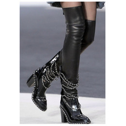 Wholesale Leather Heeled Thigh High Boots - Wholesale-High Quality CC Chain Boots,Chunky Heel Over The Knee Boots,Plus Size Women Thigh High Boots Free Shipping