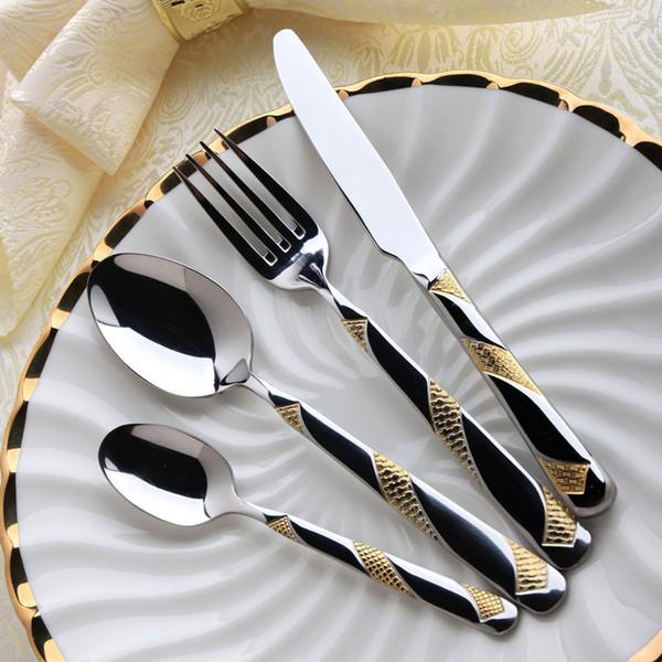 All'ingrosso-2015 vendita calda Bento spedizione gratuita 24k placcato oro posate da tavola in acciaio inossidabile di alta qualità set da 4 pezzi coltello e forchetta