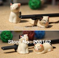 Wholesale Bamboo Chopsticks Holder - Wholesale-kitten Chopsticks Rest Pillow Writing Brush Stands Feather Pen Holder Penholder Tableware Ceramics 6pcs