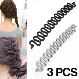 Wholesale Easy Hair Braider - Wholesale-Free Shipping! 3 Pcs Multi-colored Fashion Magic Easy Braid Wave Hair Disk Device Tress Women Hair Braider 131-0116