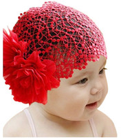 Wholesale Baby Flower Band Hat - Wholesale-Newborn Baby Toddler Girls Headband Hat Beanie Flower Hair Band Lace Elastic New Hair Accessories TF003 Free Shipping