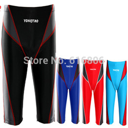 racing swimwear Promo Codes - Wholesale-New Arrival Men Swimwear Swimming Long Pant Professional Competition Trunks Fastskin Racing s L-XXXL Plus Plus Size big