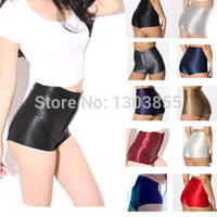 Wholesale Girls Shiny Spandex - Wholesale-NEW High Waist Women Girls Shiny Stretch Disco Shorts Fashion Apparel Hot Pants 8Colors XS S M L