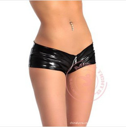 Wholesale Shorts Crotch - Wholesale-Free Shipping Sexy Gothic Black Faux Leather Low Rise Zipper Crotch Booty Boy Shorts For Women Cheeky Hot Panties