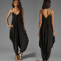 Discount deep v neck jumpsuits - Wholesale-M-4XL Casual Plus Size rompers womens jumpsuit Sleeveless Deep V-Neck Spaghetti Strap Beach coveralls Harem Playsuit Jumpsuits