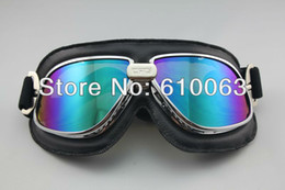 Wholesale Vintage Motorcycle Glasses - Wholesale-2015 new motocross goggles Vintage Style Aviator Pilot Cruiser Motorcycle Silver Glasses Goggles Eyewear T11 Colour Lens
