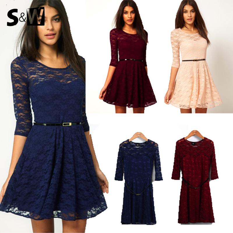 Wholesale-Hot Sale New Women Summer Casual Dresses Sexy Spoon Neck 3 Colors 5 Sizes Three Quarter Sleeve Skater Lace Dress With Belt