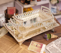 Wholesale Set of Silvery Luxury Decorative Double Hanles Metal Tray Fruit Tray Plate Rectangle New Bar Hotel Home Pub Club