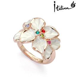 Wholesale Italina Rigant Flower - Wholesale-Italina Rigant Austrian Crystal Ring jewelry rings for women fashion jewelry flower With Austrian Crystal Stellux #RG95676