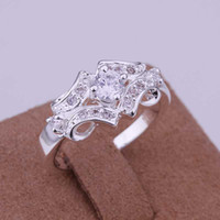 Wholesale Belt Ring Jewelry - Wholesale-Hot Sale!!Free Shipping 925 Silver Ring Fashion Sterling Silver Jewelry,Inlaid Stone Belt Ring SMTR146