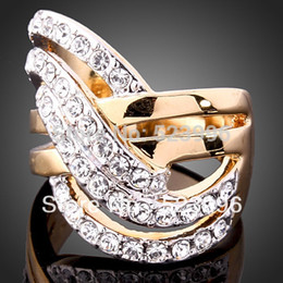 Wholesale Gold 24k Wedding Set - Wholesale-New 2015 Europe and America Jewelry Retro Fashion 24K Gold Plated Rhinestone Rings Wedding Ring Set Free Shipping J00146