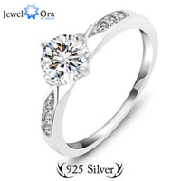Wholesale genuine cz - Wholesale-Genuine 925 Classic Sterling Silver Ring Wedding Ring Jewelry CZ Zircon Sterling Silver Rings (JewelOra RI101321)