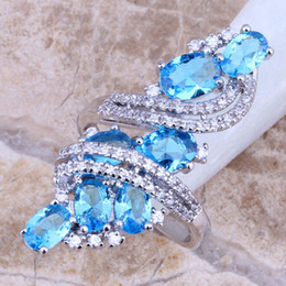 Wholesale Swiss Blue Topaz - Wholesale-Swiss Blue & White Topaz 925 Sterling Silver Ring For Women Wedding Size 5 6 7 8 9 10 Free Shipping & Jewelry Bag S0177