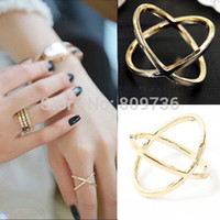 Wholesale Korean Ring Band Designs - Wholesale-2015 New Hot Fashion Korean Punk Gold Filled Silver Plated Design Simple Ring Fashion Girls Cross Jewelry Free