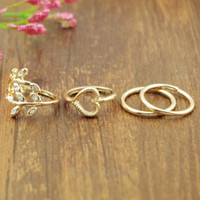 Wholesale Open Top Finger Rings - Wholesale-Hot sale Women Party Rings 4Pcs 1Set Top Of Finger Over The Midi Tip Finger Above The Knuckle Open Ring Hot Selling A4MHM044-46