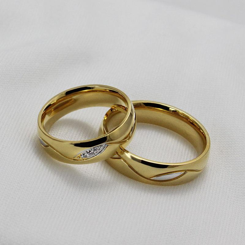 Wholesale Fashion Cz Diamond Couple Rings For Men Women 18k Gold Plated Stainless Steel Wedding Ring Pair Fine Jewelry Anillos Eternity