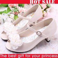 Wholesale Kids High Heel Shoes Girls - Wholesale-Hot Sale!! Flowers& White Pearls Children Girls High Heel Sandals Kids Wedding Shoes Children Size 26-36