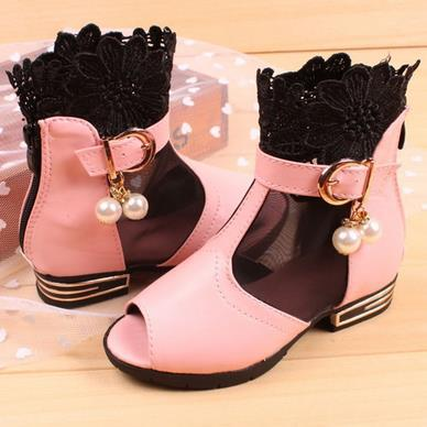 Wholesale-Child leather shoes breathable fashion sandals for kids 2015 children casual floral Sandals girl woman shoes size 26-30 825