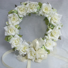 Wholesale-Artificial Decorative Flowers & Wreaths Crown of Flowers Silk Rose For Wedding Decoration Rim to hair With Flowers Ornaments