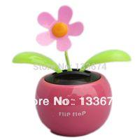 Wholesale Toy Dancing Plants - Wholesale-Home Car Flowerpot Solar Power Flip Flap Flower Plant Auto Swing Dance Toy Free Shipping