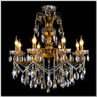 Lustres gros-luxe laiton antique couleur Crystal Chandelier luminaire Big lustres Lustre Antique Lamp