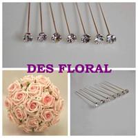 Wholesale Diamante Wedding Bouquets - Wholesale-Rose Bouquet Pins SILVER RHINESTONE CRYSTAL DIAMANTE PINS- FIVE COLORS- WEDDING FLOWERS - DIAMONTE - BUTTONHOLES FOR BOUQUET