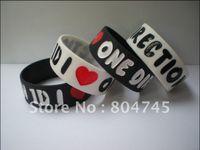 "Wholesale Silicon Bracelet One Direction - Wholesale- I LOVE ONE DIRECTION Wristband, 1"" Wide Band, Love 1D Silicon Bracelet, Promotion Gift, 2 Colours, 50pcs lot, Free Shipping"
