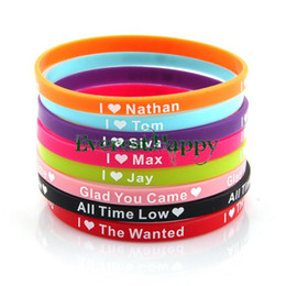 Wholesale Silicone Wristband 5mm - Wholesale-40pcs lot UK Music Super Star I Love The wanted 5mm Silicone Bracelet Wristband Jewelry Hot Gift free shipping