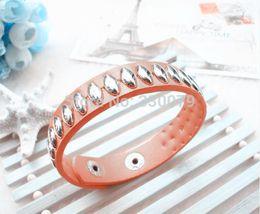 Wholesale Oval Id Bracelet - Wholesale-L142 Hot New 2015 Fashion Oval Burst Models Rivet Leather Bracelet Jewelry Wholesale New Alloy Leather Bangles