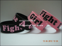 Wholesale Silicone Breast Cancer Bracelets Wholesale - Wholesale-Fight Like A Girl Breast Cancer Awareness Silicone Wristband Bracelet, 50pcs Lot