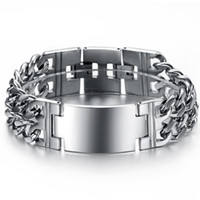 Wholesale Luxury Handcuffs - Wholesale-New arrival luxury man stainless steel fashion Smooth ID Nameplate Handcuffs bracelet for men