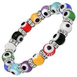 Identification Bracelets Canada - Wholesale-Fashion Multicolor Turkish Murano Evil Eye Bead Jewelry Bracelet 10mm Free Shipping