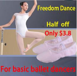 Wholesale Wholesale White Canvas Shoes Kids - Wholesale-Girls Canvas Ballet Slippers Soft Ballet Dance Shoe Split Outsoles 5Colors Kids Little Girls Gym Fitness Ballet Practise Shoe