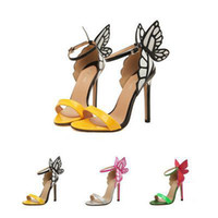 Wholesale Ladies Butterfly Sandals - Wholesale-sophia webster women Sandal summer sexy open toe high-heeled butterfly shoes lady brand designer high heel sandals shoes woman