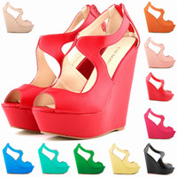 Vente en gros-NEW ELEGANT LADIES PLATEFORME PEEP TOE FAUX SUEDE PLATEFORME PEEPTOE HIGH WEDGES HIGH HEEL SHOES 391-2MA