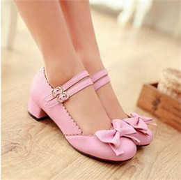 Wholesale Pink Mary Janes - Wholesale- Brand Women Lolita Bowknot Cute Shoes Plus Size New Fashion Mary Janes Buckle Strap Women's Low Heel Pumps