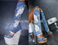 Vente en gros - Livraison gratuite et Hot Selling Sexy Denim Blue Lace Flower Wedge Knee-High Jean Boots