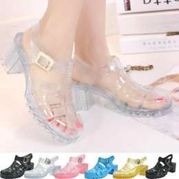 Wholesale Plastic Crystal Clear Shoes - Wholesale-Transparent Crystal Jelly Gladiator Sandals Women, Rome Beach Jelly Shoes,Plastic Vintage Style Gladiator Jelly Sandals Women