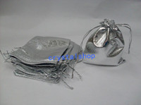 ОПТОВАЯ БЕСПЛАТНАЯ EMS SHIPPIN LOT OF 450pcs / lot SILVER SATIN JEWELRY POUCHES GIFT BAGS