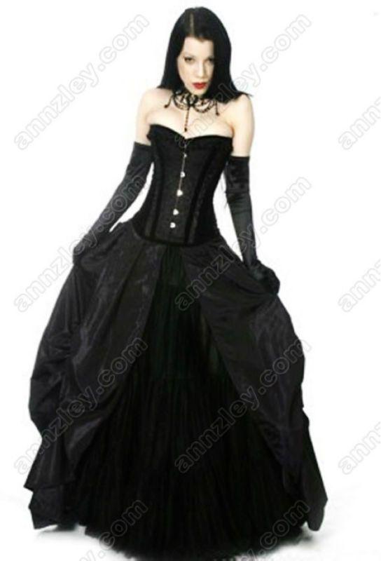 Wholesale-Plus Size Available Long Gothic Black Prom Dresses ...