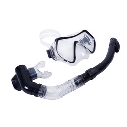 Wholesale Tempered Glass Swimming Goggles - Wholesale-2015 Scuba 4mm Toughened Tempered Glass Diving Mask Goggles Swimming Diving Snorkeling Equipment + Full Dry Snorkel Set 4 Colors