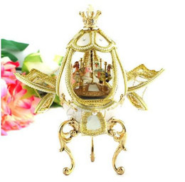 Wholesale Christmas Goose - Novelty Gift ! Carousel Decorated Real Goose Egg   Goose Egg Music Box
